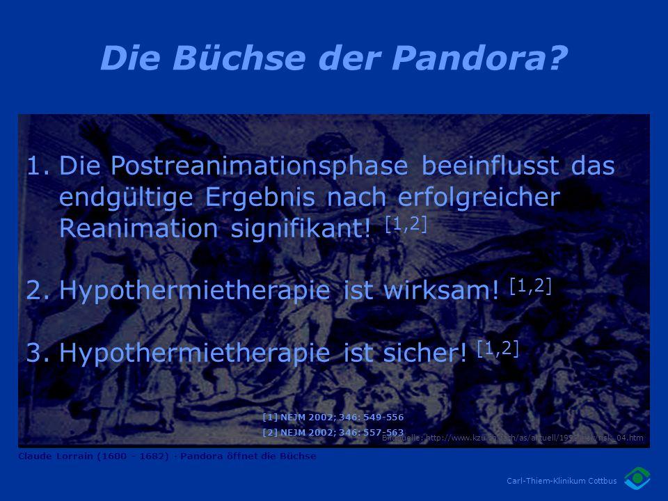 Die Büchse der Pandora Die Postreanimationsphase beeinflusst das endgültige Ergebnis nach erfolgreicher Reanimation signifikant! [1,2]